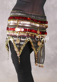 Egyptian Teardrop Wave With Coins & Paillettes Hip Scarf - Metallic Stripe with Red, Gold and Black