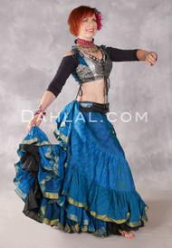 25 Yard Silk Printed Skirt - Teal and Medium Blue Combination Skirt #35