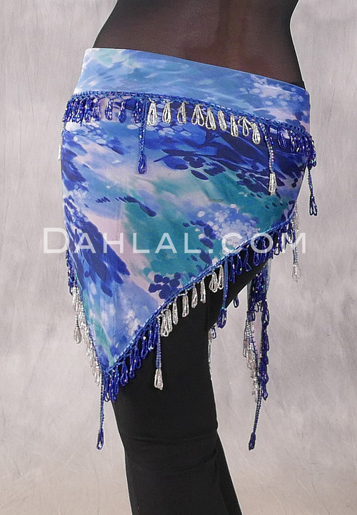 Egyptian Single Row Beaded Scarf - Graphic Print with Royal Blue and Silver