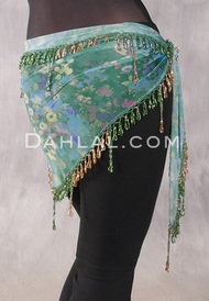 Egyptian Single Row Beaded Scarf - Floral Print with Green and Gold