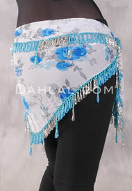 Egyptian Single Row Beaded Scarf - Floral Print with Turquoise and Silver