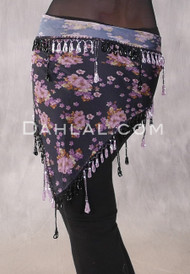 Egyptian Single Row Beaded Scarf - Floral Print with Pink and Black