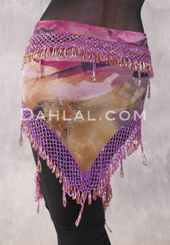 Egyptian Wide Row Beaded Crocheted Hip Scarf - Large Floral with Orchid and Gold