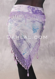 Egyptian Wide Row Beaded Crocheted Hip Scarf - Graphic Print with Lavender and Silver