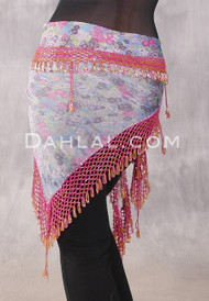 Egyptian Wide Row Beaded Crocheted Hip Scarf - Floral Print with Pink and Gold