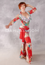 CAIRO ROSE Egyptian Beledi Dress - Red, Teal, Green and Cream