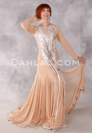 RADIANT BLISS Egyptian Dress - Nude, White and Turquoise