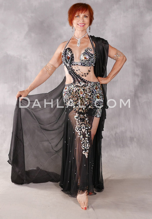 MAJESTIC EXALTATION Egyptian Dress - Black, Gold and Silver