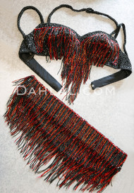BEYOND THE BASICS III Egyptian Bra and Belt Set in Black and Red