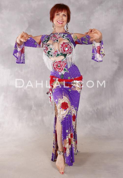 CAIRO ROSE II Egyptian Beledi Dress - Purple, Red, Green and Cream