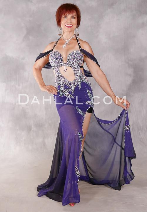 Purple Glitter Slinky Egyptian Beaded Dress - Royal Radiance