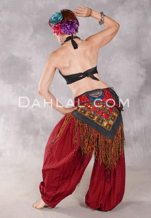 Printed Cotton Harem Pants - Diamonds in Red and Black