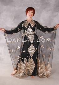 Floral Medallion Three Piece Abaya Set - Black