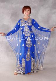 Floral Medallion Three Piece Abaya Set - Royal Blue