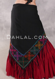 Egyptian Embroidered Bedouin Shawl - Black with Multi-color #2