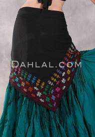 Egyptian Embroidered Bedouin Shawl - Black with Multi-color #3