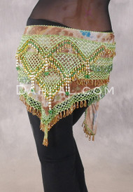 Deep V Beaded Wrap with Teardrop Beads - Graphic Print with Gold and Green Iris