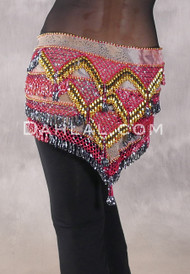 Deep V Beaded Wrap with Teardrop Beads - Animal Print with Red Iris, Charcoal and Gold