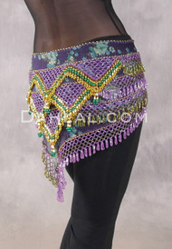 Egyptian Deep V Beaded Hip Wrap and Teardrop Beads - Floral with Orchid, Olive, Gold and Green