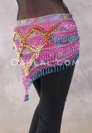 Egyptian Deep V Beaded Hip Wrap and Teardrop Beads - Floral with Pink Iris, Turquoise and Gold