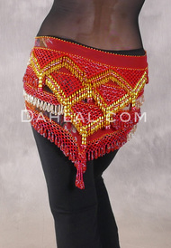 Egyptian Deep V Beaded Hip Wrap and Teardrop Beads - Floral with Red, Gold and Turquoise