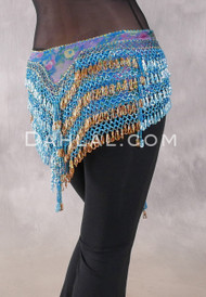 """Deep """"V"""" Beaded Loop Egyptian Hip Scarf - Floral with Icy Turquoise and Gold"""