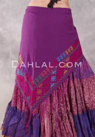 Egyptian Embroidered Bedouin Shawl - Purple with Multi-color #3