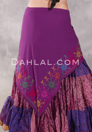 Egyptian Embroidered Bedouin Shawl - Purple with Multi-color #4