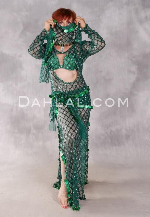 Diamond Egyptian Beledi Dress - Deep Emerald and Silver