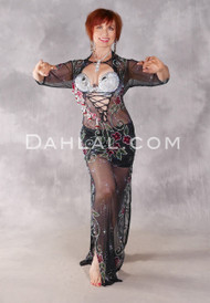 MIDNIGHT ROSE Egyptian Dress - black, Red, Green and Silver