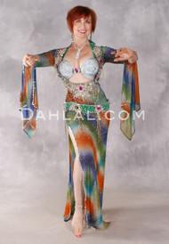 Shimmering Rainbow Beledi Dress - Royal Blue, Burnt Orange, Green and Gold