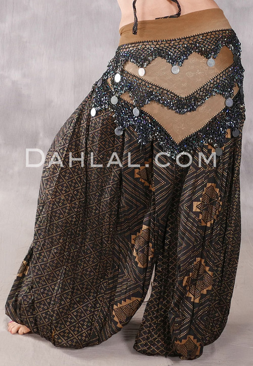 Egyptian Multi-Row Beaded Tribal Shawl With Large Coins - Camel Gradient