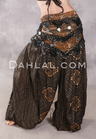 Egyptian Multi-Row Beaded Tribal Shawl With Large Coins - Animal Print