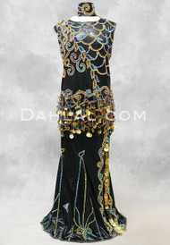 Dreams of Araby Egyptian Beaded Dress - Black with Gold, Turquoise and Royal Blue