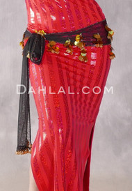 Black Net Egyptian Hip Scarf with Beads and Paillettes