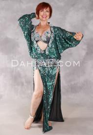 Beledi Ya Helwa Egyptian Dress - Emerald and Silver