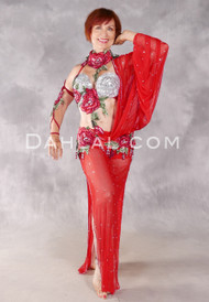 Roses Are Red Egyptian Beledi Dress - Red, Green and Silver