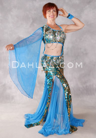 ON THE HORIZON Egyptian Dress - Teal, Blue and Gold