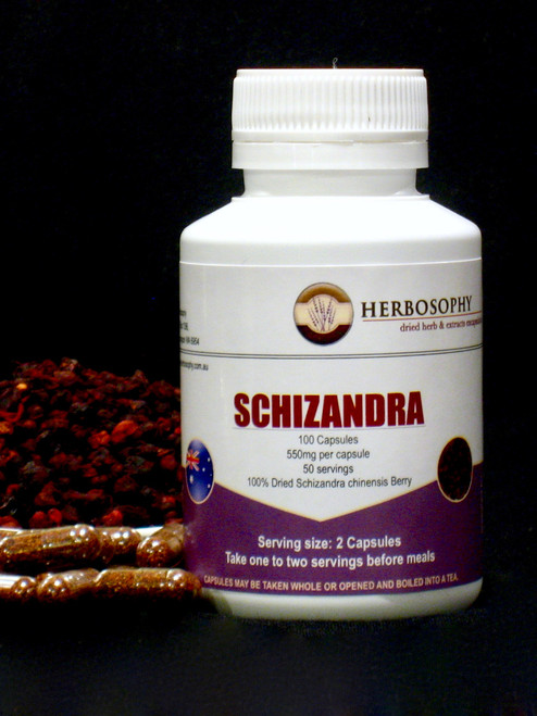 Schizandra Dried Berry, Loose Powder or Capsules @ Herbosophy