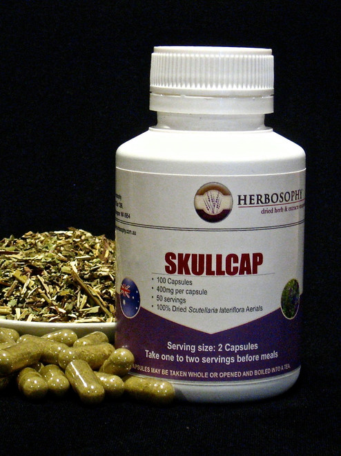 Skullcap Loose Cut, Powder or Capsules @ Herbosophy