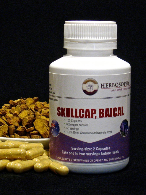 Baical Skullcap Loose Cut, Powder or Capsules @ Herbosophy