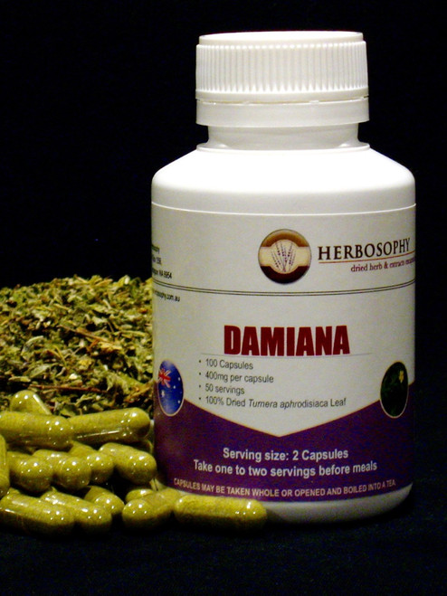 Damiana Loose Herb, Powder or Capsules @ Herbosophy