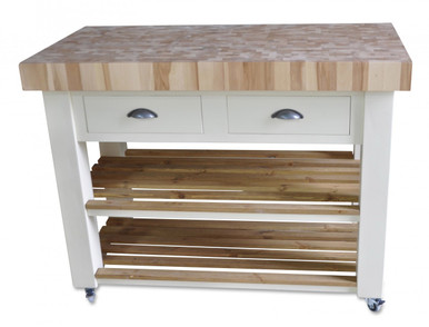 Kitchen Island Butchers Block Trolley : Butchers Block Kitchen Island - trolley on wheels / castors hand painted