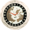 MFJ-115 24 Hour World Map Analog Wall Clock