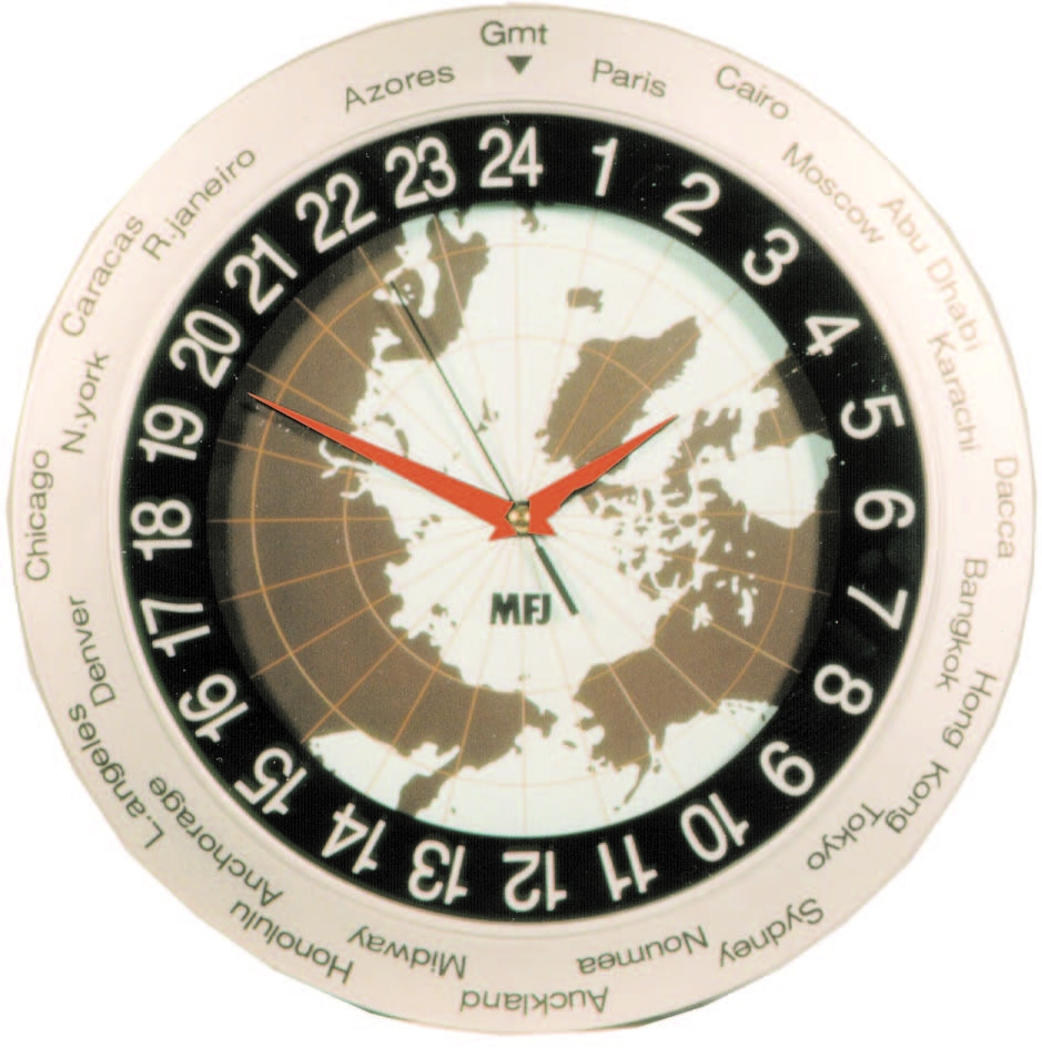 MFJ-148RC Dual Time 24//12-Hour LCD Atomic Clock w// GMT Zone and ID Timer