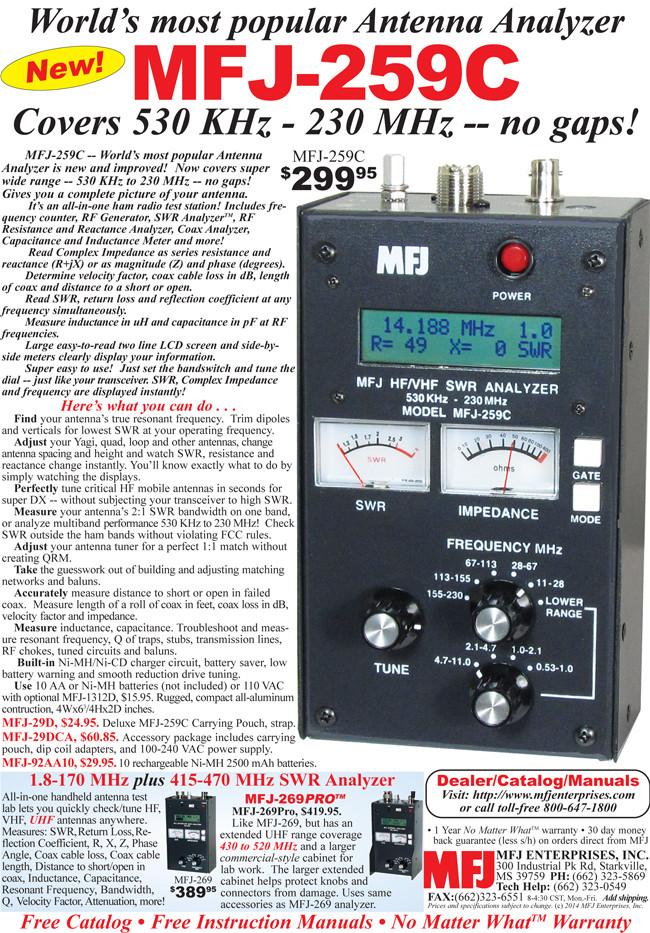 MFJ-259C SWR Antenna ANALYZER, HF/VHF and 220
