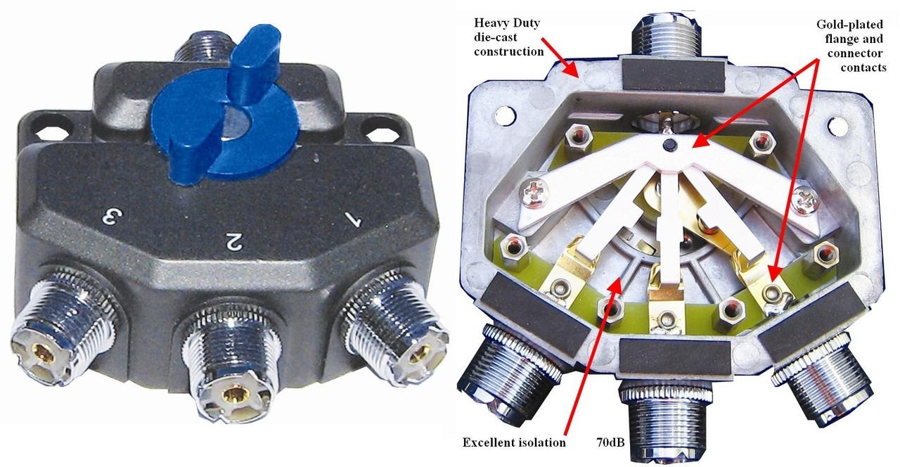 MFJ-2703 800MHz-1 5KW 3 Position Antenna Switch