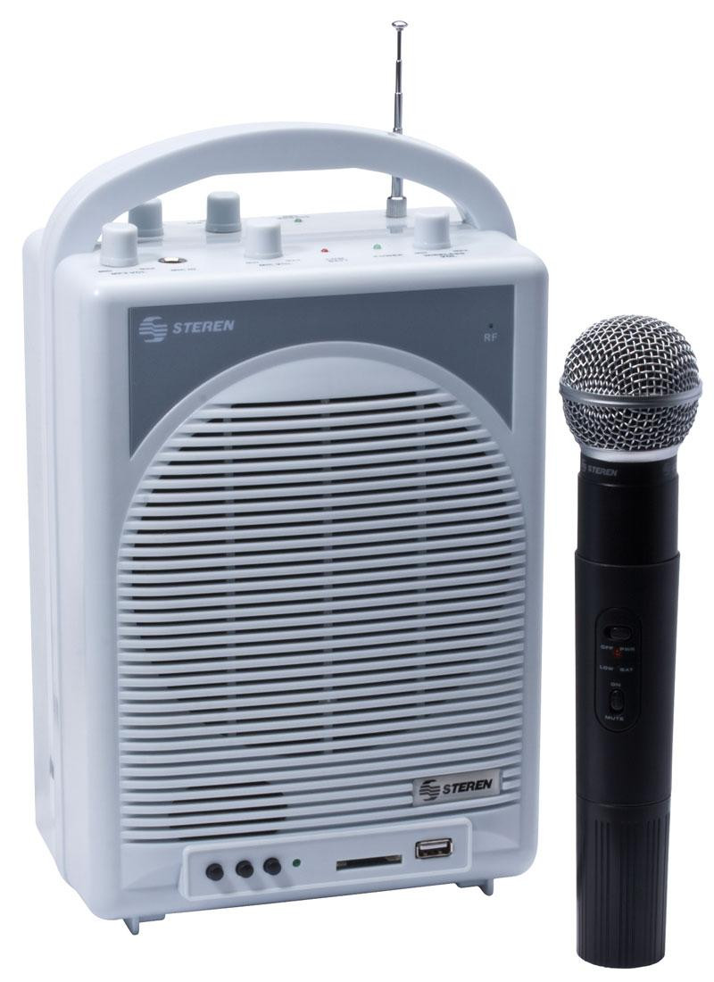STEREN 50-WATT PORTABLE AMPLIFIER WITH USB & SD CARD READER AND VHF  WIRELESS MICROPHONE