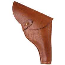 "Our exclusive leather flap holster, copied from the one worn by Harrison Ford in ""Raiders of the Lost Ark"""