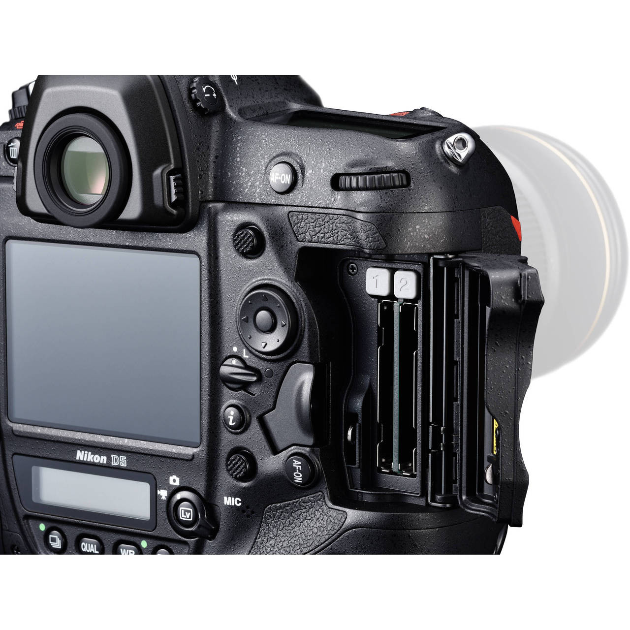 Nikon D5 Body with Dual CF Slots Open Slot Door